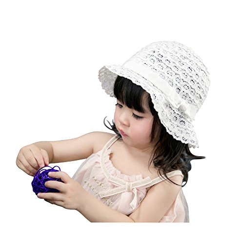 jerague Toddler Baby Girl Breathable Sun Hat Kids Floppy Foldable Summer Swim Lace Cap White