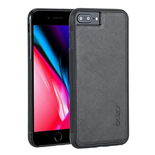 Molzar GripBig Series Funda para iPhone 8 Plus/7 Plus/6s Plus/6 Plus con Piel Sintética, Placa de Metal Incorporada para Montaje Magnético, Compatible con iPhone 8P/7P/6sP/6P, Negro