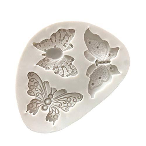 HDBD Molde de silicona para fondant de encaje de mariposa, molde de decoración de chocolate