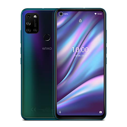 WIKO VIEW5 Plus Smartphone (6,55 Zoll (16,63 cm), 5000 mAh Akku, 48 MP KI-Quad-Kamera, O-Display, 128GB + 4GB, Dual-SIM, Android 10) - Aurora Blue