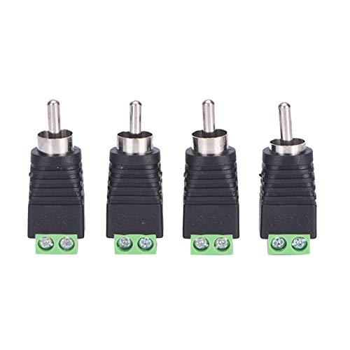Leloo Lcuihong-Interfaces de Audio Enchufe Masculino RCA a AV Terminal Conector Video A/V Altavoz Cable de Alambre a Audio Male Conector RCA Adaptador 4pcs, Durabilidad