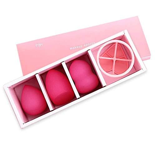 Facial 3 + 1 kit de bouffe gourde maquillage sec et humide éponge outil beauté beauté gourde oeuf ensemble beauté Sponge Beauty (Couleur: Rouge) (Color : Rose Red)