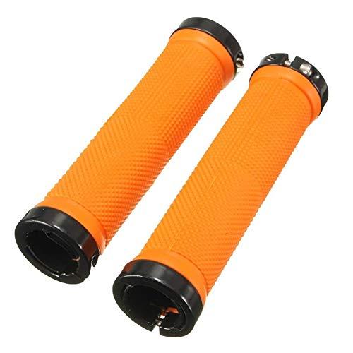 Nmyz Puños Bicicleta montaña Manillar de Bicicleta 1 par de Manillar de Bicicleta Grip MTB BMX Manillar de Bicicleta Grips Naranja Doble Caucho Antideslizante de Apretones para Toda (Color : Orange)