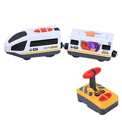 Uyuke Juguete de Tren eléctrico de Control Remoto Compatible con Juguetes de Coche de Pista de Madera para niños niños