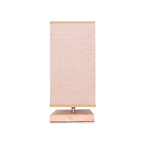 Lampe de bureau en bois massif simple, lampe de nuit carrée à abat-jour en lin chaud, lampe de bureau à économie d'énergie