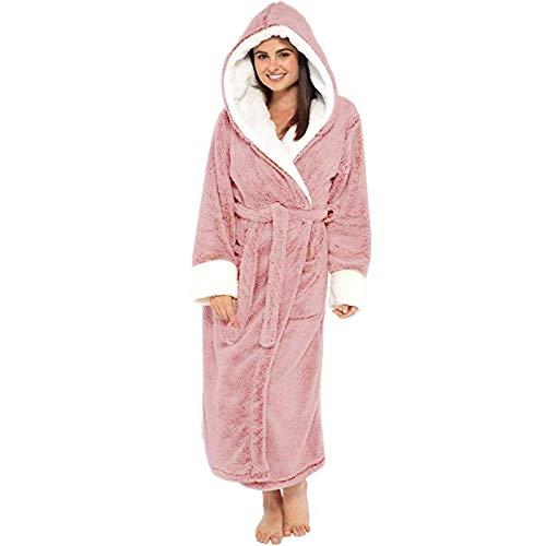 Pyjama Damen Nachthemd Schlafanzug Bademantel Frauen Winter Plüsch Verlängerten Schal Bademantel Home Kleidung Langarm Robe Mantel 3XL Pink