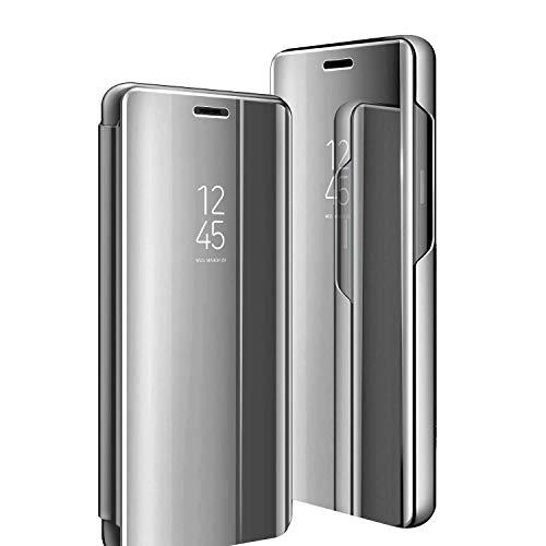 Compatible con Galaxy S6/S6Edge, Samsung Galaxy S6Edge Plus, Funda con Espejo Clear View función Atril, amortiguación de 360 Grados, Funda antiarañazos, Flip Slim, Color Azul Plata Talla única