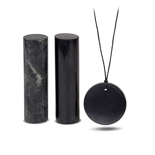 Set de Shungit para Equilibrio Energético | Pack de Shungita para Meditación y Potenciar la Energía, Regalo Ideal | Contiene Colgante Círculo Grande, Cilindro de Shungita y Cilindro de Esteatita