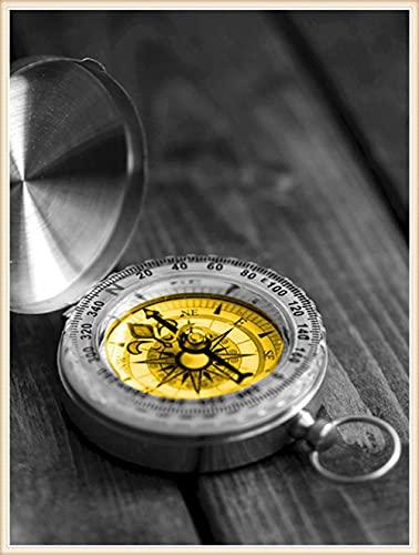 Kit de Pintura de Diamante 5D DIY Adultos Reloj blanco y negro Taladro Completo Square Diamond Painting Cristal Rhinestone Bordado Punto de Cruz Diamante Arte Picture Craft Hogar Decor 50x70cm E373