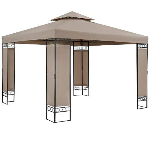 Casaria Pavillon Lorca 3x3m Taupe Stabil Wasserabweisend Robust Metall Luxus Gartenpavillon Festzelt Partyzelt Gartenzelt Zelt