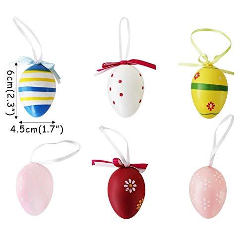 ZXFMT 6Pcs Huevos de Pascua Colgante Huevos de plástico Decoración de Fiesta de Pascua Color Mezclado al Azar Colgante Huevo Pintado Regalo Decoración de Pascua para el hogar