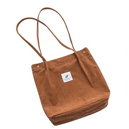 Belsmi Crossbody Tote Womens Ladies Girls 13 Inches Heavy Beach Laundry School Bag Corduroy Cotton Shoulder Bag Shopping Retro Casual Handbags Canvas Totes Bag (Brown)