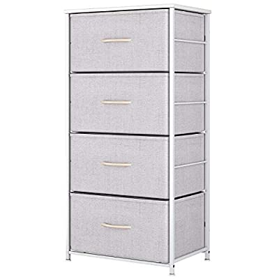 ODK Dresser with 4 Drawers, Fabric Storage Tower, Organizer Unit for Bedroom, Chest for Hallway, Closet. Steel Frame and Wood Top, Light Grey