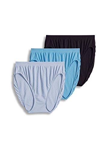 Jockey Women's Underwear Comfies Microfiber French Cut - 3 Pack, Blue Mix, 10