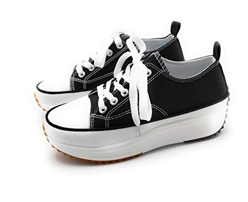Zapatillas con Plataforma, Zapatillas de Lona Mujer, Zapatillas de Moda (Negro, 39 EU, 39)