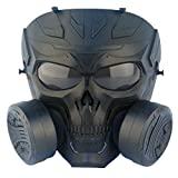 SGOYH Airsoft Paintball Protección Equipo táctico simulado lente ahumado antivaho de gas mecánico calavera máscara con doble ventilador turbo (negro)