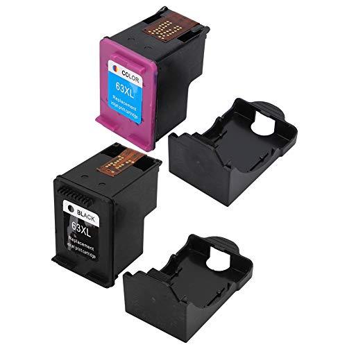 Compatible con cartuchos de tinta Hp63 para impresoras Hp 2130 3630 4520 4650 Cartuchos de tinta de gran capacidad Nueva versión 63XL Color para estudio y oficina(Negro)