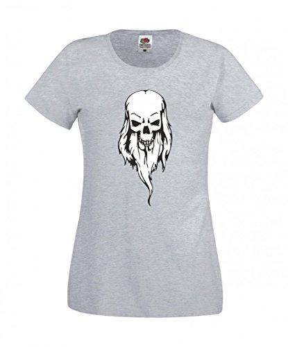 Camiseta con diseño de calaveras y texto en alemán 'Totenschädel Großvater Barth Koteletten Skelett Rocker Motorradclub Gothic Biker Skull Emo Old School' para hombre, mujer, niños de 104 – 5 XL gris Para Hombre Talla : Medium