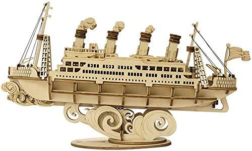 Abcoll DIY handgemachtes Segelboot Modell Kinder pädagogisches Puzzle Spielzeug Kreative Holz Montage Boot Einfach zu montieren 145 Stück