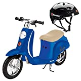 Razor Pocket Mod Euro 24V 250W Kids Electric Retro Scooter with Helmet, Blue - Speeds up to 15 MPH