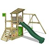 FATMOOSE Spielturm Klettergerüst FruityForest Fun XXL mit Einzel-Schaukel & grüne Rutsche,...