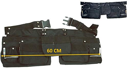 DWT-Germany 101492 Werkzeuggürtel Stoff mit 11 Taschen Werkzeug Gürtel (mit Messertasche, Nageltasche, Hammerhalter + Gürtel aus Nylon)