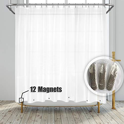 Barossa Design Clawfoot Tub Shower Curtain with 12 Magnets - 36 Metal Hooks Included, 180' W x 70' H Wrap Around, Waterproof PEVA Shower Liner for Bathroom, PVC Free, Metal Grommets - Frosted, 180x70
