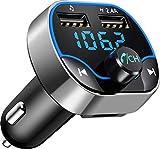 Bovon Transmisor FM Bluetooth, Transmisor de Radio Inalámbrico Kit Adaptador de Coche con Función Manos Libres, Puertos USB Dobles (5V / 2.4A y 1A), Acepta Tarjetas SD, USB, y Flash Drive
