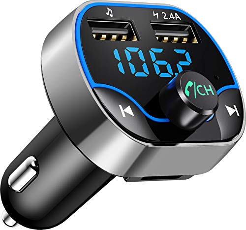 Bovon Trasmettitore FM Bluetooth,FM Transmitter per Auto Radio, MP3 Audio Lettore, Adattatori Vivavoce Car Kit, Caricabatterie Auto con 2 Porte USB (5V 2.4A e 1A) Supporta Scheda TF e U Disk