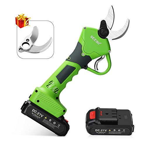 Seesii Professional Cordless Electric Pruning Shears Tree Branch Flowering Bushes Trimmers,2Pcs 2Ah Backup Rechargeable Lithium Battery Powered,30mm (1.2 Inch) Cutting Diameter,with Spare Blade