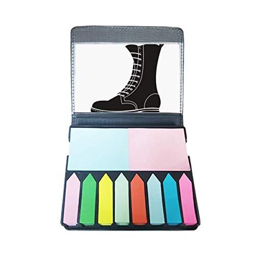 Heren Zwarte Hoge Laarzen Silhouette Patroon Zelf Stick Note Kleur Pagina Marker Doos