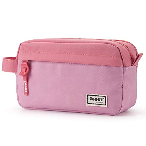 Sooez High Capacity Pen Case, Durable Pencil Bag Stationery Zipper Pouch, Portable Journaling Supplies with Easy Grip Handle & Loop, Aesthetic Supply for Adults, Pink