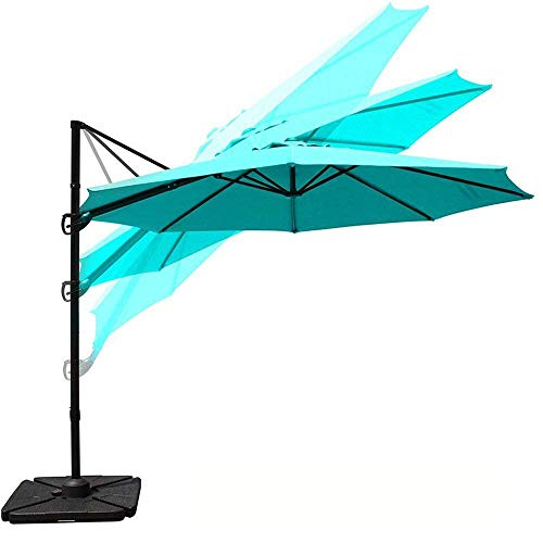 COBANA 10ft Cantilever Offset Patio Umbrella with Vertical Tilt and 360 Degree Rotation Function, Blue
