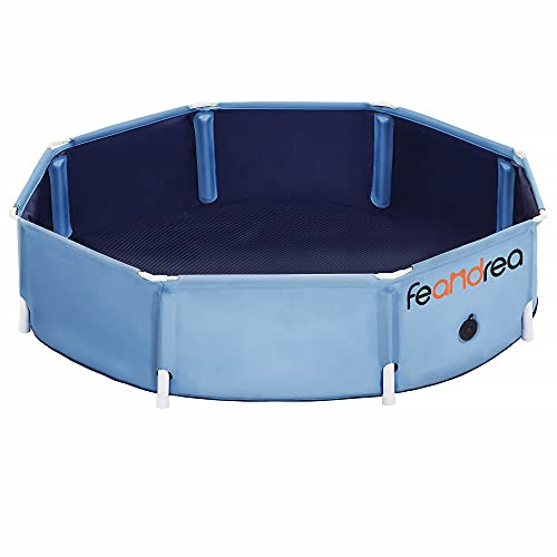 FEANDREA Dog Pool, Foldable Pet Swimming Pool, Portable Collapsible Pet Bath Tub, Anti-Slip Design, Indoor and Outdoor, Blue UPDP003Q01