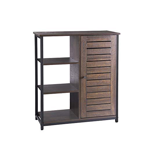 FIVEGIVEN Retro Bathroom Floor Storage Cabinet with Door/3 Side Shelves Rustic Industrial, Espresso