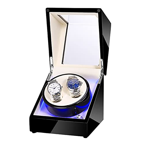 GUOYUN Caja Giratoria para Relojes Automático con Doble Epítopo Estuche Caja De Enrollador De Reloj con 5 Modos para 2 Relojes Watch Winder con Motor Silencioso para Relojes Mecánicos
