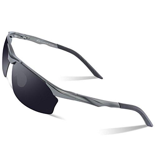 Duco Polarisierte Sonnenbrille Herren für Radfahren Angeln Golf Unzerbrechlich 8513S (Gunmetal Rahmen Grau Linse)