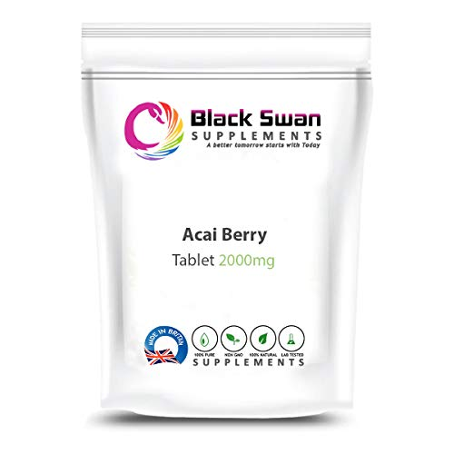 Black Swan Acai Berry Veg Supplement | with antioxidant Formula | Contains Vitamin A, C, E, B1, B2 and B3 | Support Healthy Skin | metabolic Function | Digestive System | 1000mg Capsules (30 caps)