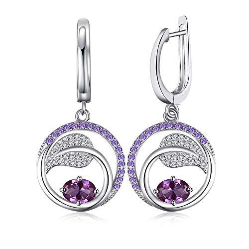 D&XQX Pendientes de Zafiro Alejandrita 925 Pendientes de Plata esterlina para la joyería de la Piedra Preciosa de Las Mujeres Pendientes de la Manera de Corea