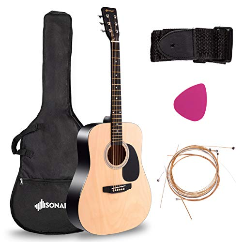 Sonart 41'' Full Size Beginner Acoustic Guitar, Professional Customization Smooth Mirror Structure Steel String W/Case, Shoulder Strap, Pick, Extra Strings for Kids, Starters, Nature