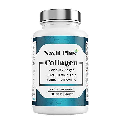 Colágeno Acido Hialurónico | Vitamina C | Coenzima Q10 | Zinc | Articulaciones, piel y huesos fuertes | 90 cápsulas vegetales | Navit Plus. Nº RGSEAA: 26.018330/M.