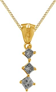 Princess Cut White Natural Diamond Journey Pendant Necklace in 10K Solid Gold (1/2 cttw)