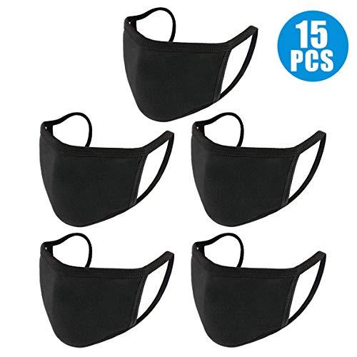 Neovoo 15 Stück Gesichtsschutz, Mundschutz,  Unisex, schwarz, staubdicht, aus Baumwolle, waschbar, wiederverwendbar, für Herren und Damen