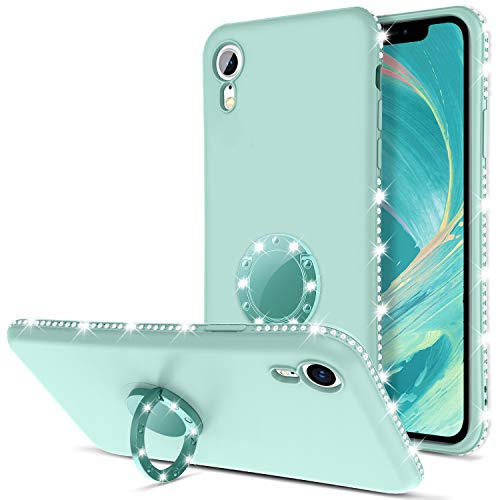 DOMAVER iPhone XR Case 360° Ring Holder Kickstand Slim Silicone Soft Gel Rubber Trendy Rhinestone Sparkly Bumper Protective Shockproof Cover for iPhone 10 XR 6.1', Light Green