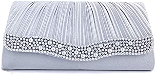 TOOGOO Women's Party Bag Wedding Clutch Bag Party Back, Silver