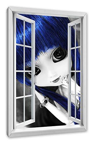 Pixxprint Pullippop met blauwe haren, venster canvasfoto | muurschildering | kunstdruk hedendaags 100x70 cm