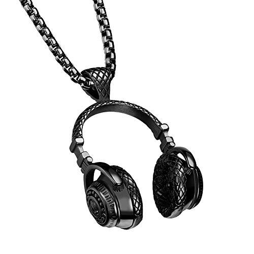 PAURO Hip Hop Rock DJ Gran Auricular Colgante Hombre Acero Inoxidable Negro con Cadena