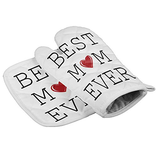 Oven Mitt and Pot Holder Set, Anti Heat Non-Slip Food Grade Kitchen Mitten, Safe Insulated Glove for Kitchen, Cooking, Baking, BBQ Best Mom Ever and Heart Pattern