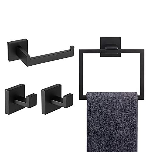 KOKOSIRI Juego de accesorios de baño 4 piezas toallero soporte para papel higiénico 2 ganchos para toallas acero inoxidable montaje en pared negro mate B09S4-BK