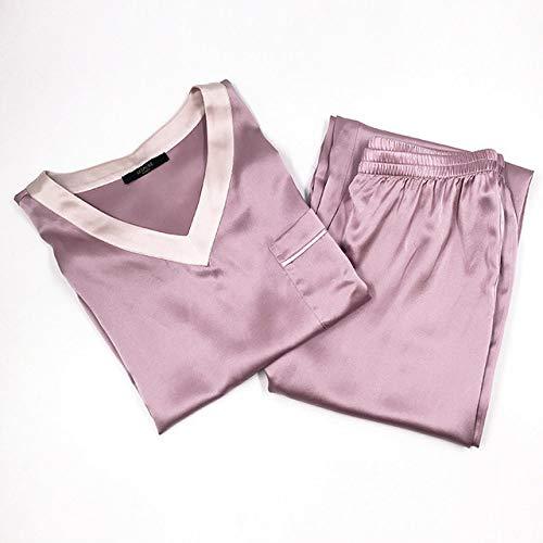 XUHRA pyjama voor de zomer, pyjama, zacht, 100% loungewear, voor dames, jurk voor thuis, pyjama van satijn, pijama, lila, baby blue sleep dames